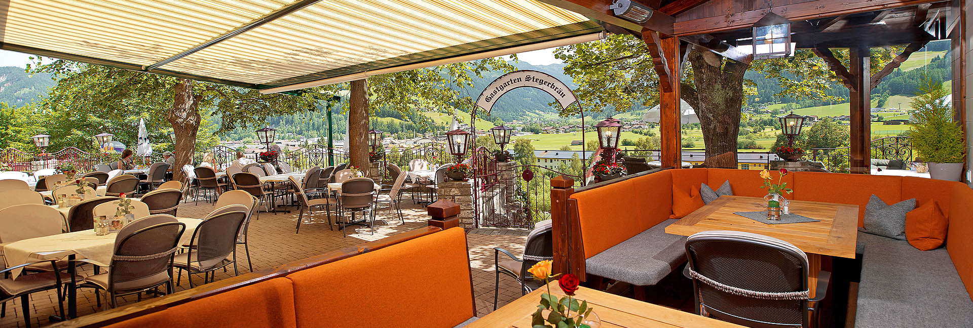 Guest garden restaurant with big terrace in radstadt for Terrace hotel restaurant