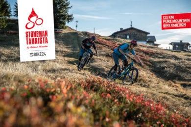 Mountainbiker die auf dem Stoneman Taurista Trail downhill unterwegs sind