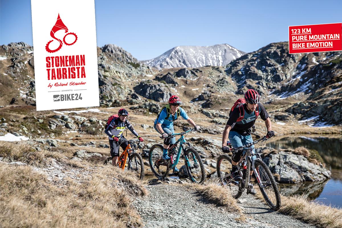 Mountainbiker auf dem Stoneman Taurista Trail entlang der herausfordernden Tauernpass-Überquerung